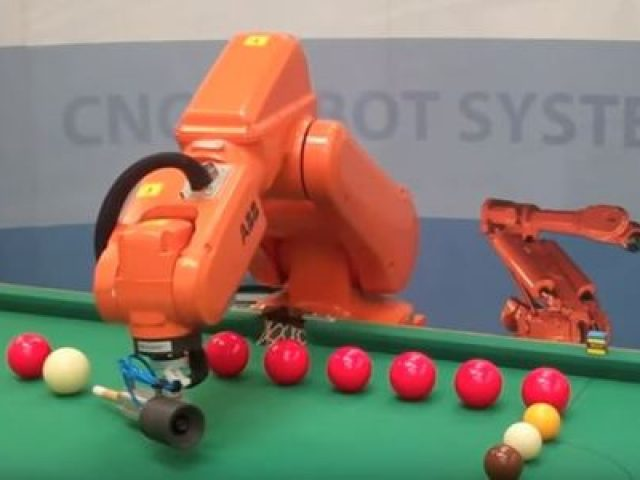 Robots playing billiards